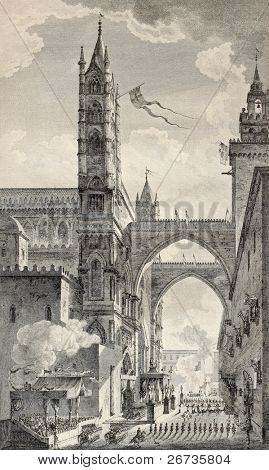 Old illustration of Palermo cathedral arches. By Desprez e Quaurovilliers, published on Voyage Pittoresque de Naples et de Sicilie,  J. C. R. de Saint Non, Imprimerie de Clousier, Paris, 1786