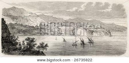 Ilustración antigua de la costa del Principado de Mónaco. Original, de dibujo de Gaildrau, después de sket