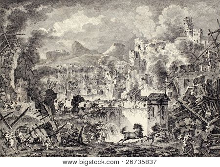 Old image of Messina earthquake destruction. Created by Coiny, Desprez  and De Ghendt, Published on Voyage Pittoresque de Naples et de Sicilie, by J. C. R. de Saint Non, Impr. de Clousier, Paris, 1786
