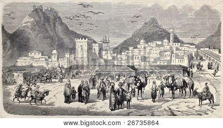 Antique illustration shows a view of Aden. Original, from drawing of Rouargue, after sketch of Deschiens, was published on L'Illustration, Journal Universel, Paris, 1860