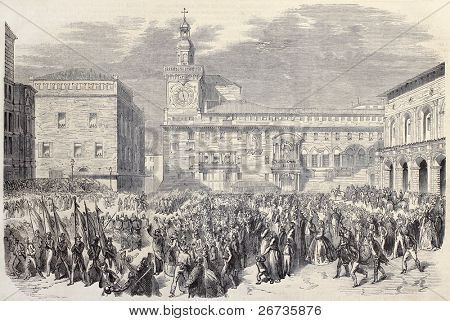 Antique illustration of Piedmontese troops entering il Bologna, Italy. Original, after drawings of Thomas and Worms, published on L'Illustration, Journal Universel, Paris, 1860