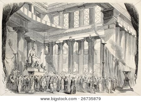 Theatrical representation of Baucis and Philemon, Gounod's opera from Ovid's fable. From drawing of Lefman, on decor of Cambon and Thierry, published on L'Illustration, Journal Universel, Paris, 1860
