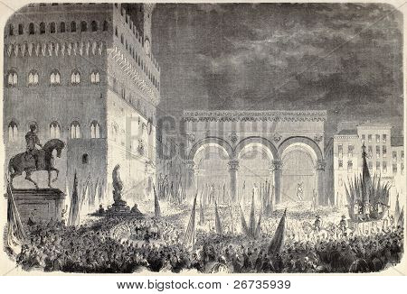 Piazza della Signoria, Florence, Italy: people waiting scrutiny results. Original, from drawing of Durand, after sketch of Sanesi, was published on L'Illustration, Journal Universel, Paris, 1860