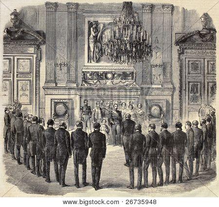 Antiga ilustração mostra a delegação do Savoy recebido pelo imperador Napoleon III no Palácio das Tulherias. Ori
