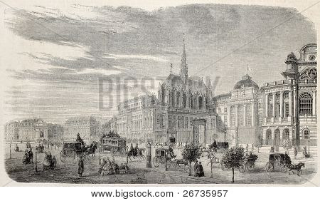 Old illustration of Justice Palace with holy Chapel in Boulevard de Sebastopol, Paris, Ile de la Cite. Original, from drawing of Fichot,published on L'Illustration, Journal Universel, Paris, 1860