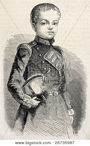 Old antique portrait of Prince of Asturies, heir to the throne of Spain. Original, from drawing of  De Pontelli, was published on L'Illustration, Journal Universel, Paris, 1860