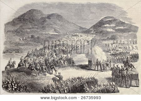 Old illustration of Samsa battlefield in Morocco, during Spanish military expedition.  Original, created by Ildefonso Sant and Janet-Lange, published on L'Illustration, Journal Universel, Paris, 1860