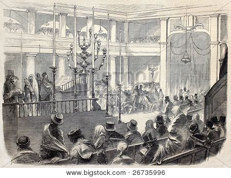 Austrian Jews thanksgiving ceremony in Pest, for acquisition of legal right to own land properties. Drawing of Worms, after sketch of Hankel, publ. on L'Illustration, Journal Universel, Paris, 1860