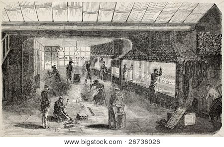 Antique illustration of precious metals foundry in Paris. Original, from drawing of Gaildrau, was published on L'Illustration Journal Universel, Paris, 1860