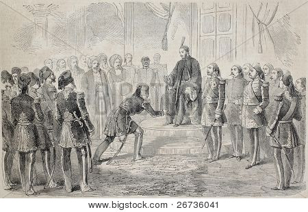 Kaireddine Pasha receive solemn investiture for the Bey of Tunis by the Sultan of Constantinople. Drawing of Janet-Lange, on sketch of Millesi, publ. on L'Illustration Journal Universel, Paris, 1860