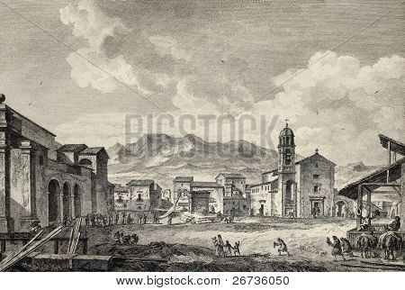 View of the main square in Carini, near Palermo, Italy. By Desprez and De Ghendt, published on Voyage Pittoresque de Naples et de Sicilie,  J. C. R. de Saint Non, Impr. de Clousier, Paris, 1786
