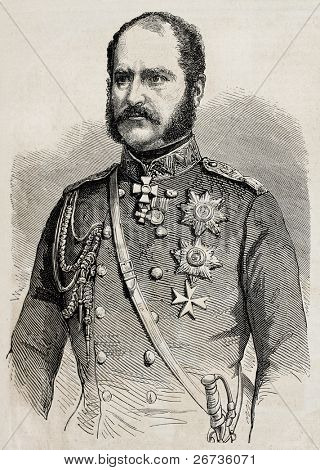 Engraved portrait of Prince Alexander Bariatinsky, Russian general and Field Marshal, Governor of the Caucasus. From drawing of Marc, published on L'Illustration Journal Universel, Paris, 1860