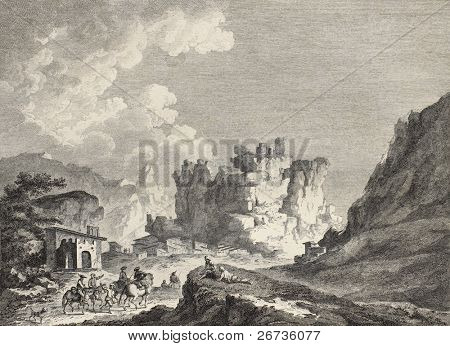 View of Caltavuturo, on Madonie mountains, Sicily. By Chatelet and Gutemberg, published on Voyage Pittoresque de Naples et de Sicilie,  J. C. R. de Saint Non, Imprimerie de Clousier, Paris, 1786