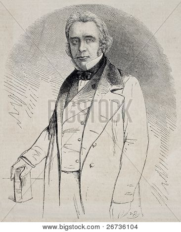 Engraved portrait of Lord Thomas Babington Macaulay, British poet, historian and politician. Drawing of Hofer, after photo of Maul and Polyblank, publ. on L'Illustration Journal Universel, Paris, 1860
