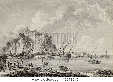 View of the port of Palermo, Italy. By Chatelet and Paris, published on Voyage Pittoresque de Naples et de Sicilie,  J. C. R. de Saint Non, Imprimerie de Clousier, Paris, 1786