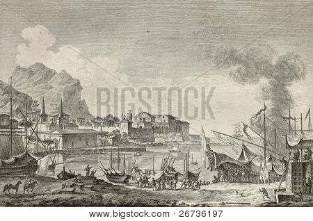 View of port of Palermo, Italy. By Chatelet and Paris, published on Voyage Pittoresque de Naples et de Sicilie,  J. C. R. de Saint Non, Imprimerie de Clousier, Paris, 1786