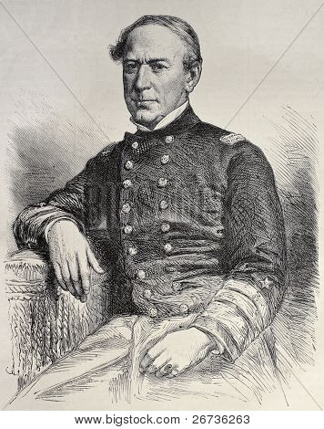 Old engraved portrait of David Farragut, the first Admiral in the United States Navy. Created by Robert, after photo of Liebert, published on L'Illustration, Journal Universel, Paris, 1968