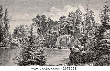 Bois de Boulogne waterfall, Paris. By Hildibrand, Hochereau and Lambotte, taken from Les Promenades de Paris (by Alphand, Rotschild ed.), published on L'Illustration, Journal Universel, Paris, 1968