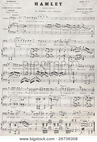 Reproducción antigua de puntuación de la aldea. Ed. Heugel para Académie Imperiale de Musique, publicado en L'Illus