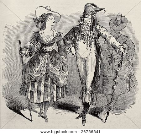 Old illustration of masquerade couple costumes for Grand Masquerade Ball of 1868 season. Original, created by Bertall, was published on L'Illustration, Jounrnal Universel, Paris, 1868