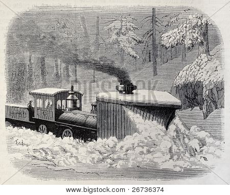 Old illustration of a snow plough locomotive along Union Pacific Railroad, California, USA. Created by Blanchard and Cosson-Smeeton, published on L'Illustration, Journal Universel, Paris, 1868