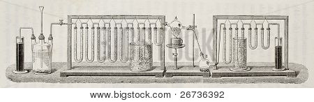 Scheme for experimental determination of water composition in weight, according to J. B. Dumas method. Created by Javandier and Hildebrand, published on L'Eau, by G. Tissandier, Hachette, Paris, 1873