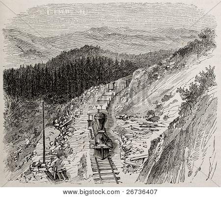 Antiga ilustração de montanhas escarpadas ao longo da Union Pacific railroad, EUA. Original, por Lancelot, w