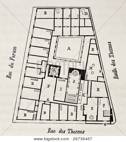 Old plan of Pompeii forum baths, Italy. Original, from unknown author, was published on L'Eau, by G. Tissandier, Hachette, Paris, 1873