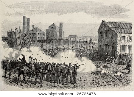 Old illustration of  riot repression at Epine cool mine, Belgium. Original, created by Blanchard and Cosson-Smeeton,  published on L'Illustration, Journal Universel, Paris, 1868