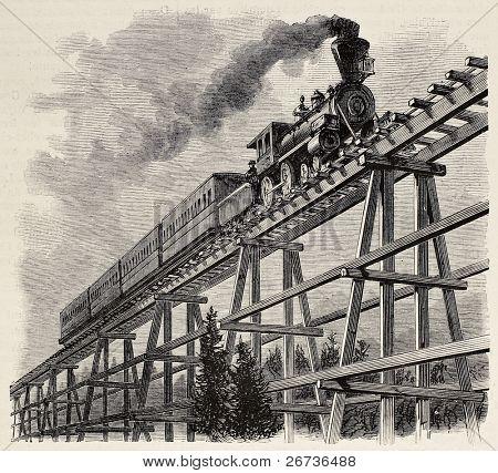 Vieja ilustración del tren cruzando el puente de caballete de madera a lo largo del ferrocarril Union Pacific. Original, cre