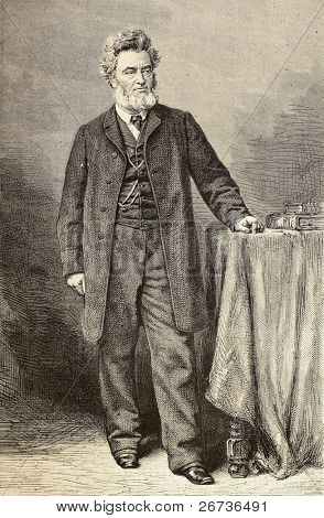 Old engraved portrait of Jules Favre, French politician and statesman. Original, created by Mouilleron and Robert, after photo of Bertall, published on L'Illustration, Journal Universel, Paris, 1868