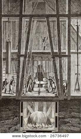 Antique illustration of artesian well at Passy, Paris. Original, created by Javandier, was published on L'Eau, by G. Tissandier, Hachette, Paris, 1873.