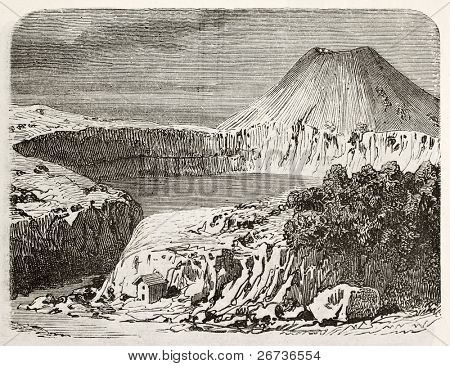 Antique illustration of Lac Pavin on the Mont Dore, Auvergne, France. Original, from unknown author, was published on L'Eau, by G. Tissandier, Hachette, Paris, 1873