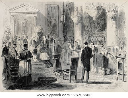 Old illustration of Prince Imperial Eugene Louis Napoleon Bonaparte First Communion in Tuilieries chapel, Paris.Created by Pauquet, was published on L'Illustration, Journal Universel, Paris, 1868