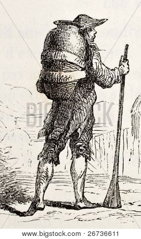 Antique illustration of a man bearing water. Original, created by Hildibrand, was published on L'Eau, by G. Tissandier, Hachette, Paris, 1873