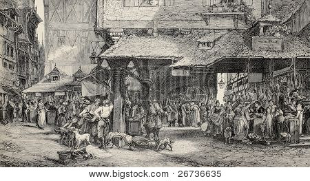 Old illustration of butcher's shop in Frankfurt. Engraved by Joliet after tablet of Noel. Published on L'Illustration, Journal Universel, Paris, 1868