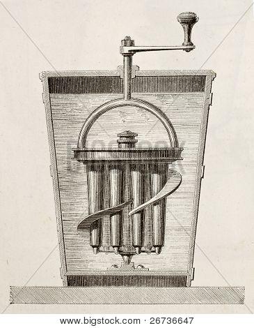 Antique illustration of Goubaud refrigeration apparatus. Original, from unknown author, was published on L'Eau, by G. Tissandier, Hachette, Paris, 1873