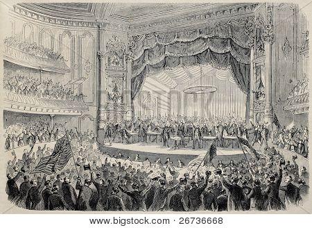 Ilustración antigua de reunión electoral presidencial en el teatro de la Opera de Chicago. Creado por Gaildrau