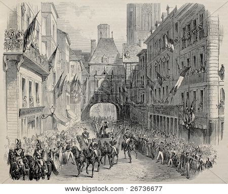 Old illustration of French Imperial family in Rouen, coming under the big clock tower. Created by Janet-Lange and Cosson-Smeeton, publ. on L'Illustration, Journal Universel, Paris, 1868