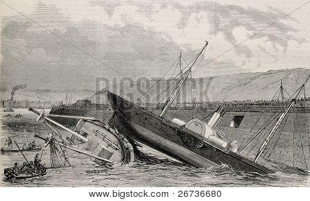 Ilustración antigua de dos artes accidentales que se hunde en el canal del puerto de Boulogne. Creado por Blancha