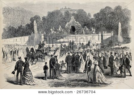 Old illustration of  Prince Imperial Eugene Louis Napoleon Bonaparte visiting Schonbrunn palace in Vienna, Austria. Created by Janet-Lange, published on L'Illustration, Journal Universel, Paris, 1868