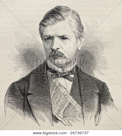 Old engraved portrait of  Iovan Marinovic, president of Serbian Senate. Created by Janet-Lange,   published on L'Illustration, Journal Universel, Paris, 1868