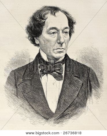Old engraved portrait of Benjamin Disraeli, British conservative statesman. Created by Loudon, published on L'Illustration, Journal Universel, Paris, 1868