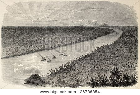 Brazilian battleships along Paraguay river near Humaita,during the war of the Triple Alliance. Created by Blanchard, after sketch of Paranhos, publ. on L'Illustration, Journal Universel, Paris, 1868