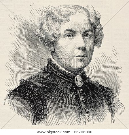 Old engraved portrait of Elisabeth Cady Stanton, American social activist. Created by Chenu, published on L'Illustration, Journal Universel, Paris, 1868