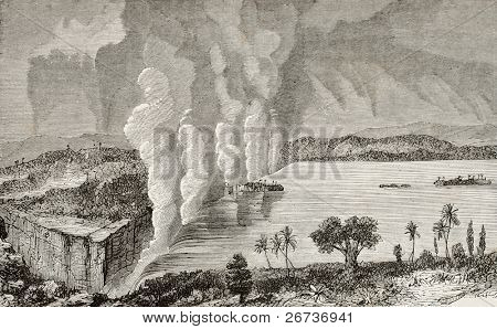 Old illustration of Victoria falls, between Zambia and Zimbabwe. Original, by unknown author, was published on L'Eau, by G. Tissandier, Hachette, Paris, 1873