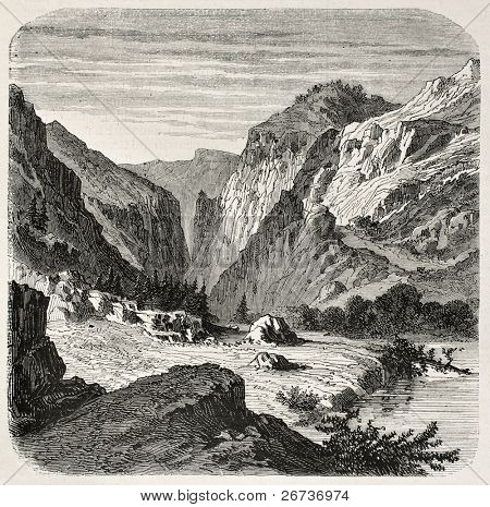 Old illustration of Laramie river, Wyoming. Created by Janet-Lange, published on L'Illustration, Journal Universel, Paris, 1868
