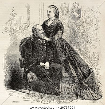 Antique portrait of Royal couple of Hanover: King George V and Queen consort Marie. Created by Pauquet, published on L'Illustration, Journal Universel, Paris, 1868