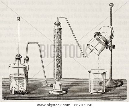 Old illustration of water synthesis by hydrogen combustion. Original, by unknown author, was published on L'Eau, by G. Tissandier, Hachette, Paris, 1873