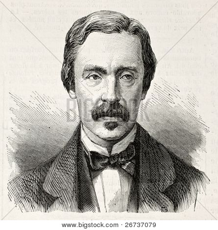 Old engraved portrait of Jean Bernanrd Leon Foucault, French physicist and astronomer. Created by Chenu, published on L'Illustration, Journal Universel, Paris, 1868